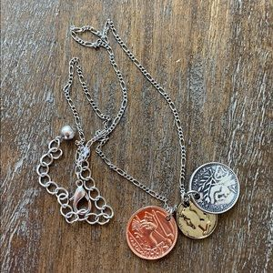 Sweet NWOT coin necklace antique silver rose gold